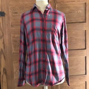 J CREW THE PERFECT SHIRT red gray plaid
